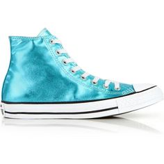 Converse Chuck Taylor All Star Ii Hi Top New Iridescent Trainers (41.325 CLP) ❤ liked on Polyvore featuring shoes, sneakers, blue, converse shoes, high top trainers, lace up high top sneakers, blue high tops and lace up shoes