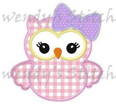 Girl owl applique machine embroidery design by WendysStitch, $1.49
