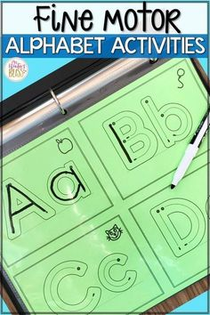 FREE Fine Motor Alphabet Activities - Preschool - Fine motor alphabet activities are a fun learning center for preschool and kindergarten kids. Preschool Letters, Kindergarten Writing, Kindergarten Literacy, Preschool Writing Centers, Preschool Binder, Preschool Learning Activities, Infant Activities, Fun Learning, Educational Activities