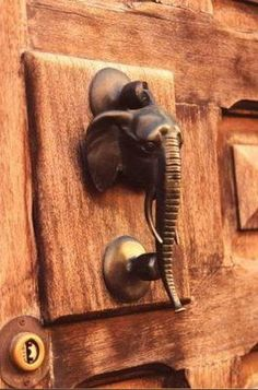 Elephant head door knocker.