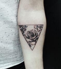 rose geometric rose tattoo arm black ink gray flower tattoo designs