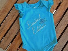 Newborn Baby Girl Aqua Onesie/Bodysuit with Embroidered