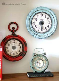 Metal clocks painted to look old
