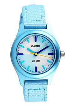 Blue Watch LTR-16B-2EVDF  Watches. This blue metallic watch from casio with canvas band, cute look, diameter case 2.7 cm, with silver color buckle, this cute analog watch thing is water resistant up to 50 m.  http://zocko.it/LD4M0