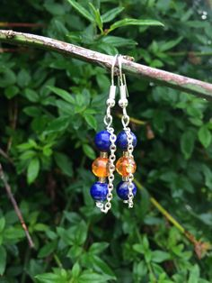 Lapis Lazuli & Amber Earrings With Chain, Modern Clips, Small Boho Earrings, Blue Orange Earrings, Women Gifts, Cheap Gift For Her, UK Shop by MadeByMissM on Etsy