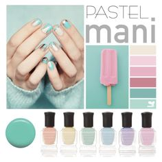 """Pastel Nail Art"" by groove-muffin ❤ liked on Polyvore featuring beauty, Jin Soon and Deborah Lippmann"