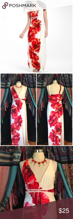 Bisou Bisou Floral Print Maxi Dress Size 12. Just the right amount of floral print makes this dress a must-have go for fun, flirty & romantic events or even just when you want to feel a little extra feminine. V-neck empire waist. Polyester, spandex. EUC $45 Bisou Bisou Dresses Maxi