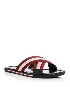 Bonks Black, Mens fabric sandals in black and white Bally