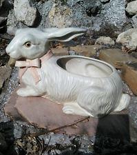 "RARE Large 14"" White 1975 FITZ & FLOYD HUGE RABBIT Bunny PLANTER CACHE POT"