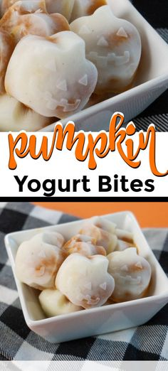 Fun pumpkin yogurt bites taste just like a healthy but creamy pumpkin pie! This recipe is great for kids and toddlers, but adults will love them too. This makes a great dessert and a fun special treat or snack for Halloween. Pumpkin Recipes, Fall Recipes, Real Food Recipes, Snack Recipes, Pumpkin Yogurt, Frozen Pumpkin, Creepy Food, Yogurt Bites, Kids Plates