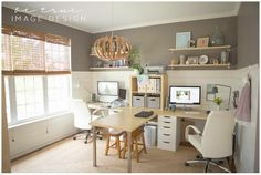 Hers  Hers work space....love the colors and the style of this office. Would only need one desk though.