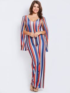 f5dbf92203b Stripe Color Block Slim Full Length Women s Jumpsuit Plus Size Jumpsuit