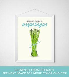 Asparagus Kitchen Print  Kick Some Assparagus  Funny by noodlehug Asparagus Kitchen Print - Kick Some Assparagus - Funny modern minimal produce fresh veggie healthy typography vegan vegetarian poster art