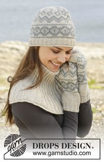 """Knitted DROPS hat, mittens and neck warmer with Norwegian pattern in """"Nepal"""". ~ DROPS Design"""