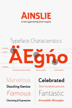 Ainslie semi-serif font family from insigne