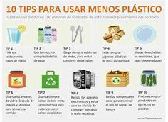10 TIPS para usar menos plástico en nuestra vida diaria #infografía