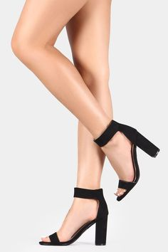 This cute open toe heel features a single band across vamp, chunky wrapped heel, lightly padded insole, and adjustable ankle strap with a hook-&-loop closure. Material: Vegan Suede (man-made) Sole: Sy