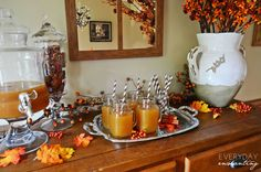 Fall Home Tour...What an great idea to create an Apple Cider Bar!