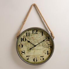 One of my favorite discoveries at WorldMarket.com: Map Clock with Rope