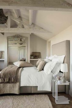 Maybe I can distress the master bedroom doors to make it loook like these beams. 50 Rustic Bedroom Decorating Ideas - Interior Design Ideas, Home Designs, Bedroom, Living Room Designs Dream Bedroom, Rustic Bedroom Decor, Guest Bedroom, Bedroom Makeover, Bedroom Decor, Beautiful Bedrooms, Home, Dreamy Bedrooms, Home Decor