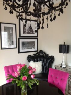 Roses from my husband! My pink dining room!
