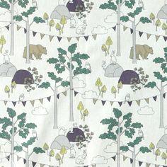 Bomull hvit m abstrakt skog/dyr