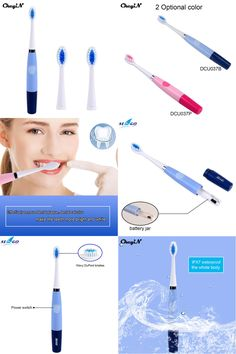 [Visit to Buy] CkeyiN 2 Colors Adults Electric Toothbrush Dental Care Electric Massage Sonic Toothbrush Adult With 2Pcs Replaceable Brush Head #Advertisement