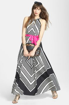 black + white print plus a hot pink sash.