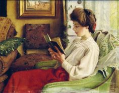 """A Good Book"" ~ 1905 ~ by Paul Fischer (Danish, 1860-1934) [""Reading makes immigrants of us all.  It takes us away from home, but more important, it finds homes for us everywhere."" ~ Jean Rhys]"