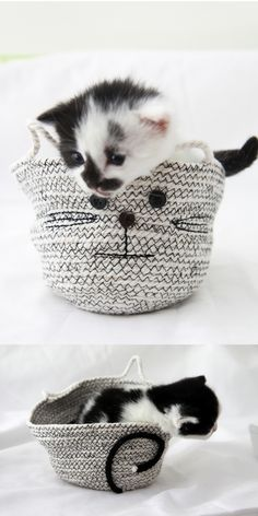 This #DIY rope bowl is perfect for storing all kinds of things... bobby pins, loose buttons, or very tiny kittens! You know, the essentials.