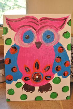 Pink Owl Canvas by AddieReeseDesigns on Etsy, $40.00
