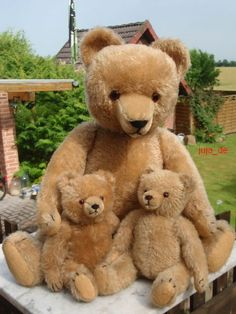 Momma & Her Cubs ....Vintage Hermann Teddies...such a sweet family of bears. Photo via ebay