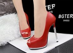 Women Sexy Open peep Toe High Heels Shoes - Upper : Material:PU - Outsole : Material:Rubber - Style : Pumps - Season :Spring and Fall - Types of Heels : High heel - Insole Material : TPR - Lining Mate Platform High Heels, Black High Heels, High Heel Boots, Shoe Boots, Red Shoes, Cute Shoes, Shoes Style, Peep Toe Heels, Pumps Heels