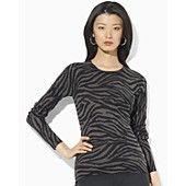 Lauren Ralph Lauren Xenia Crew Neck Zebra Sweater