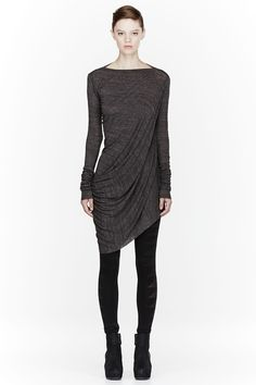RICK OWENS LILIES Grey Draping Long Sleeve Top