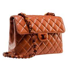 Chanel Vintage Orange Jumbo Flap