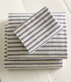 Ultrasoft Flannel Sheet, Flat Ticking Stripe: Flat Sheets   Free Shipping at L.L.Bean