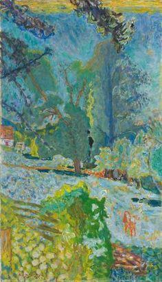 Peintre de la couleur, Pierre Bonnard livre ici une toile où dominent les camaïeux de bleu et vert. Installé à …