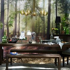 Enchanted Forest Wallpaper Mural #westelm SO SEVENTIES My dad's office had a wall like this in the early 80s