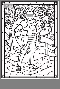 FREE Stained Glass Knight > Make this a cover for the book? Have Eph 6 copyworb in the middle? Medieval Stained Glass, Stained Glass Angel, Medieval Crafts, Medieval Party, Colouring Pages, Coloring Books, Kids Coloring, Vbs Crafts, Armor Of God