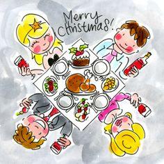 Met z'n vieren samen eten tijdens het Kerstdiner - Greetz