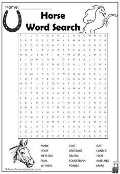 Horse Word search more at @ Kids Word Search, Free Printable Word Searches, Horse Birthday Parties, Horse Games, Horse Coloring Pages, Free Horses, Horse Party, Riding Lessons, Horse Crafts