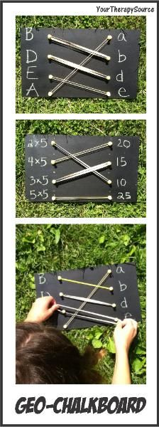 Fine Motor Activities Using Geo Chalkboard; good for math facts, exponent, square roots, etc