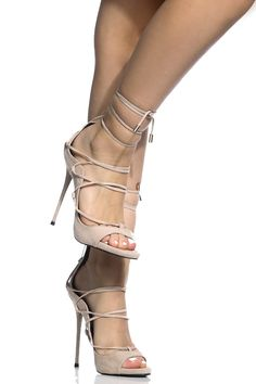 Nude Faux Suede Lace Up Single Sole Stiletto Heels @ Cicihot Heel Shoes online store sales:Stiletto Heel Shoes,High Heel Pumps,Womens High Heel Shoes,Prom Shoes,Summer Shoes,Spring Shoes,Spool Heel,Womens Dress Shoes