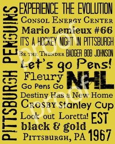 Pittsburgh Penguins Hockey Subway Art Print 8x10. $11.00, via Etsy.
