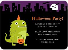 Halloween Party Invitations by Tiny Prints. Unique Designs and custom text. Halloween Invitation Template, Halloween Birthday Party Invitations, Halloween Party Invitations, Holiday Invitations, Custom Invitations, Invites, Birthday Ideas, Creative Invitation Design, Invitation Ideas