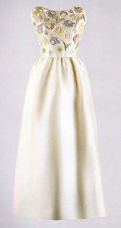 hubert de givenchy - ivory embroidered evening dress worn by jacqueline kennedy