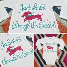 This #Dachshund through the snow onesie is so dog gone cute! It's the perfect gift for the #DoxieLover with a newborn.