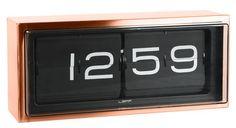 Horloge Brick / A poser ou à suspendre Cadre cuivre / Fond noir - LEFF amsterdam - Décoration et mobilier design avec Made in Design