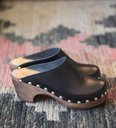 "Ann-Louise Roswald Black Clogs. $ 185.00. Handmade in Sweden  2.75"" heel. Half sizes order up"